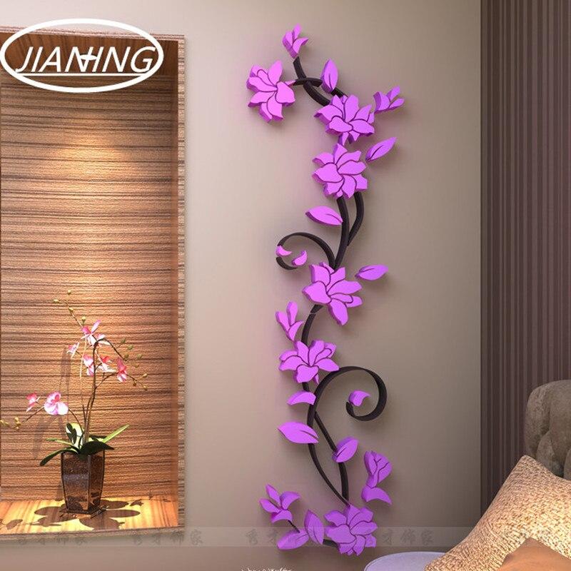תלת מימד קריסטל תלת מימדי מדבקות קיר מראה רקע טלוויזיה קישוט מודרני פרחים דקורטיביים ספה בסלון ורוד אדום