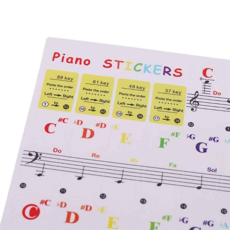 لوحة مفاتيح البيانو ملصقات الموسيقى ملاحظة ملونة لمفتاح 37 49 61 88