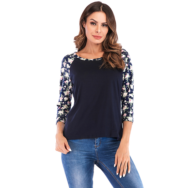 d3800a436 US $7.9 35% OFF|2019 Autumn tshirt Plus Size Black Women Top Tees Floral  Print 3/4 Long Raglan Sleeve Casual O Neck Long Sleeve Workwear T Shirt-in  ...
