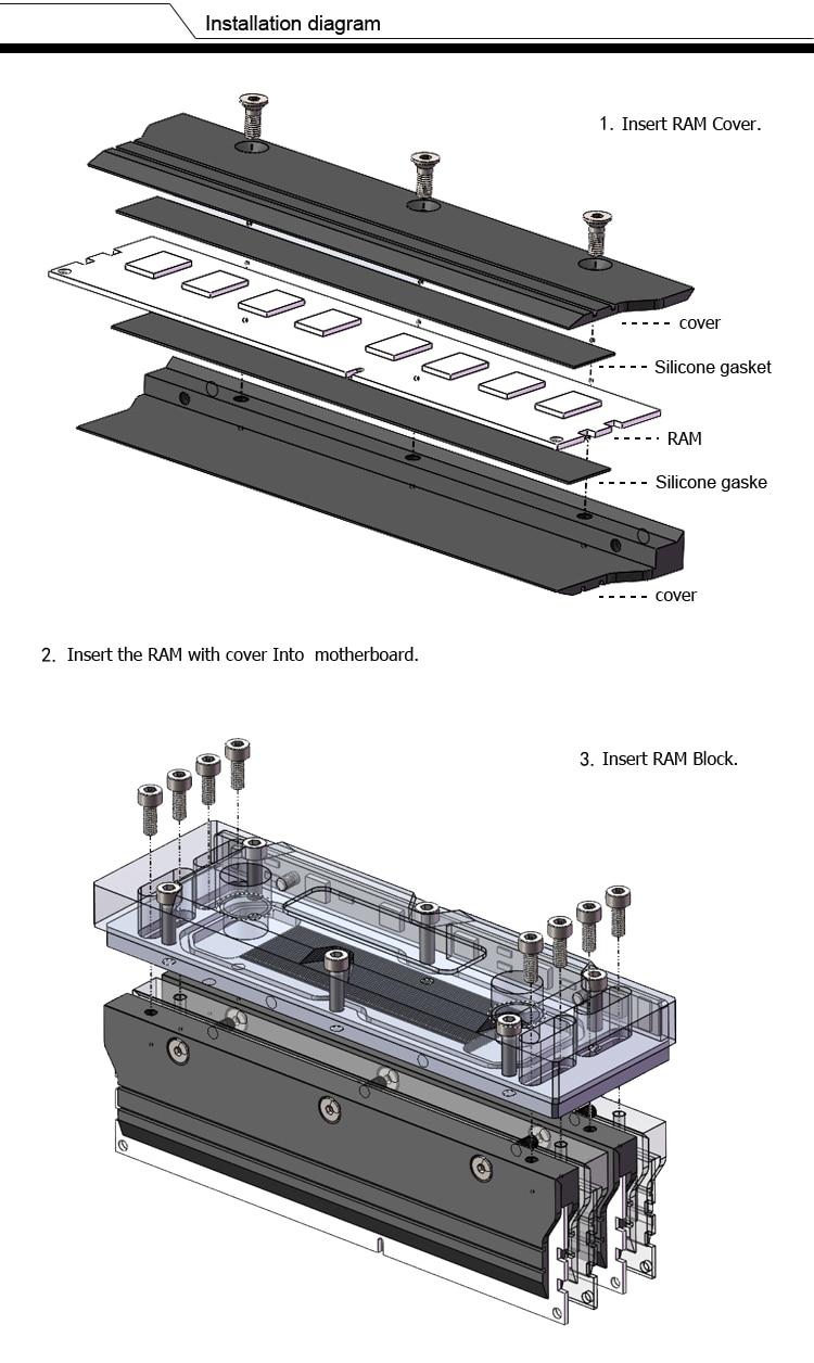 Купить с кэшбэком Barrow Metal Radiator Cover use for RAM Standard Width Black Cover for Liquid Cooling System Heat Dissipation Cover 1pcs RAM
