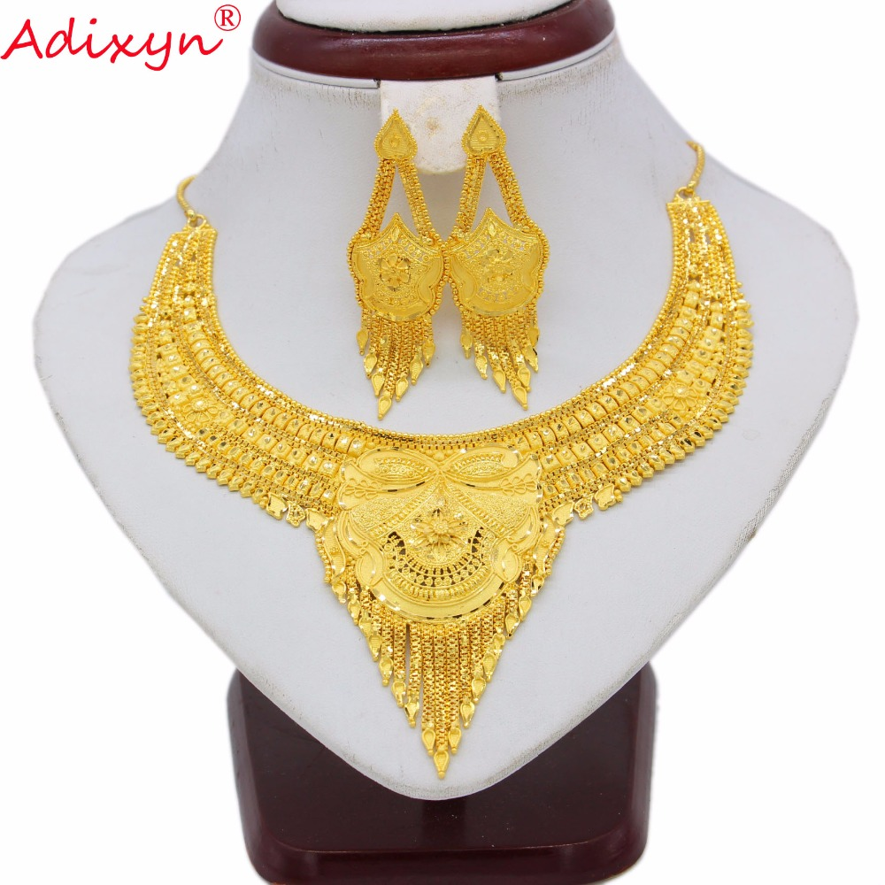 Adixyn Gold Color Jewelry Set For Women Girls Chokers Chain/Tassels Earrings Trendy Arab/Ethiopian Party Gifts N07017
