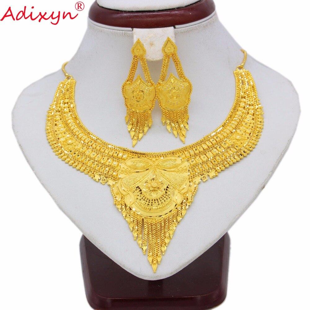Adixyn or couleur bijoux ensemble pour femmes filles Chokers chaîne/glands boucles d'oreilles à la mode arabe/éthiopien fête cadeaux N07017