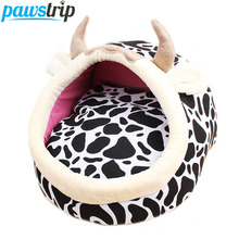 Leopard Cow Cartoon Dog Bed House Winter Warm Cat Beds Sponge Padded Puppy Sofa S/L(China)