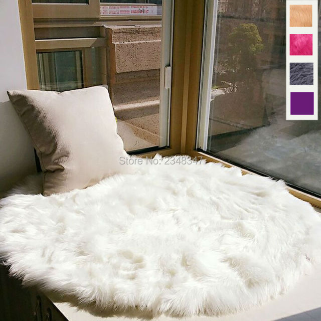 Long Faux Fur Artificial Sheepskin Fluffy Chair Seat Sofa Cover Round Carpet Mat Area Rug Living