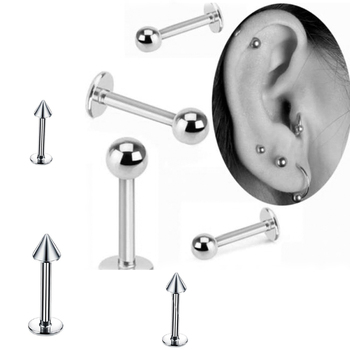 Surgical Steel Industrial Lip Piercing 5Pcs lot 18G Helix Bar 3mm Ball Lip Rings Labret Piercing.jpg 350x350 - Surgical Steel Industrial Lip Piercing 5Pcs/lot 18G Helix Bar 3mm Ball Lip Rings Labret Piercing Cartilage Earrings Body Jewelry