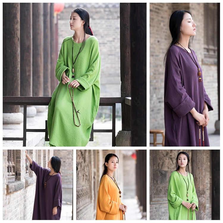 bdffecdfae Linen dress big size Batwing Cotton Women Long Dress Oversized Zen style  Solid Robe Femme Gown Dresses Loose Casual Maxi Dress