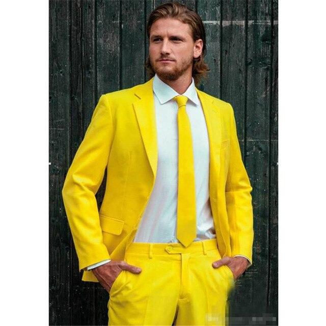 Vestito Matrimonio Uomo Giallo : Custom made moda sposo uomo smoking vestito giallo un