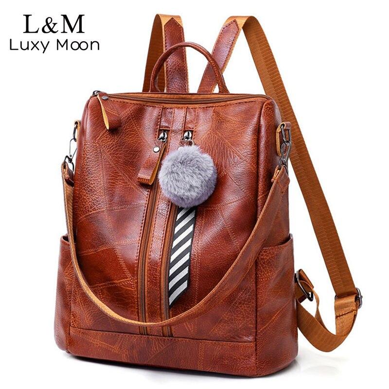 Vintage Large Women Backpack Brown Leather Shoulder Bag For
