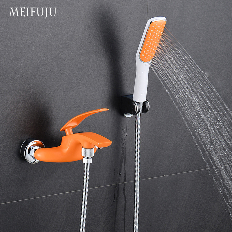 Colorful Bathroom Shower Set Single Handle Hot And Cold Water Tap Mixer Brass Chrome Wall Mounted Shower Faucet Shower Head sets