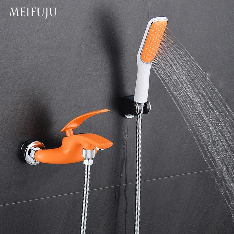 Ensemble de douche de salle de bain coloré mitigeur de robinet d'eau chaude et froide mitigeur de douche mural en laiton chromé