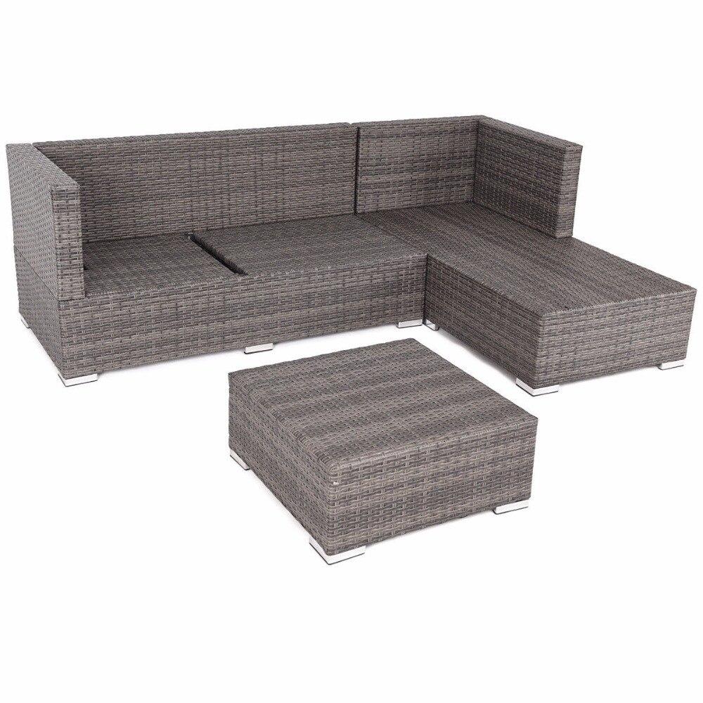 Giantex 3 piezas mimbre muebles sofá conjunto marco de acero asiento ...