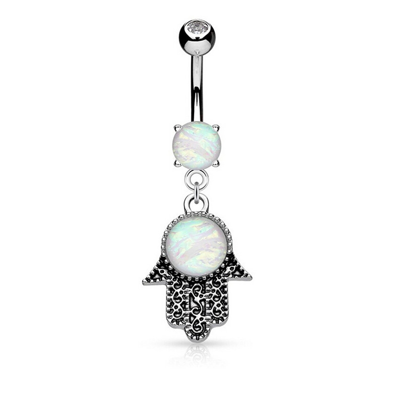 Belly-Button-Ring Barbell Opal Hamsa Navel Piercing Body-Jewelry Crystal Silver Dangle