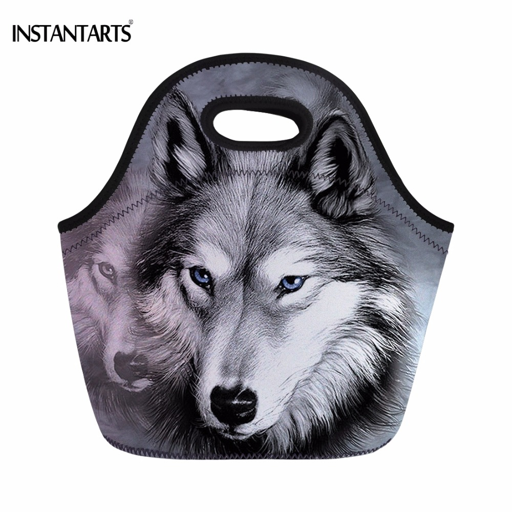 INSTANTARTS Cool 3D Animal Wolf Head Print Women Men Lunch Bag for Work Fashion Thermal Meal Bag Mens Portable Cooler Lunchbags ...