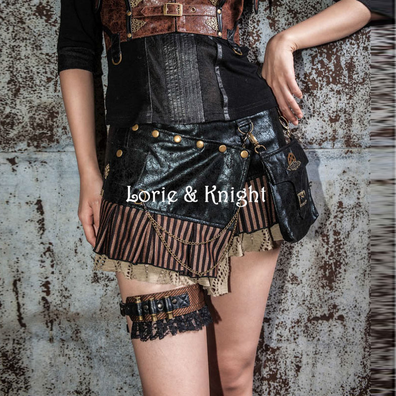 ФОТО Rock Black PU Steampunk Gothic bag Goth Shoulder Waist Bags Packs  Knight Style Women Men leg Thigh Holster Bag Punk Skirt