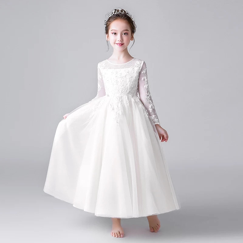 2019 Pure White Children Girls Birthday Wedding Party Princess Lace Long Dress Kids Infant Piano Pageant Host Ball Gown Dress2019 Pure White Children Girls Birthday Wedding Party Princess Lace Long Dress Kids Infant Piano Pageant Host Ball Gown Dress