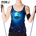 FORUDESIGNS Sexy Fashion Tops Women 3D Sea World Shark Printed Sleeveless Cami Top Camisol Blue Casual Tank Tops Round Neck