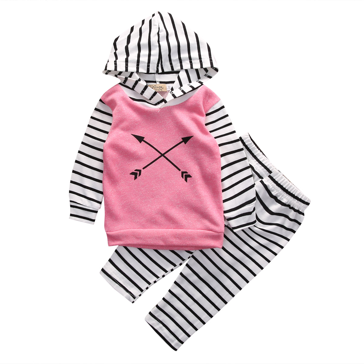 2pcs Newborn Infant Baby Girl Clothes Autumn Striped Long Sleeve Hooded Arrow Top+Striped Pant Baby Clothes Set Baby Sportswear newborn infant baby girl short sleeve arrow romper striped leg warmers headband 3pcs pink outfits set clothes