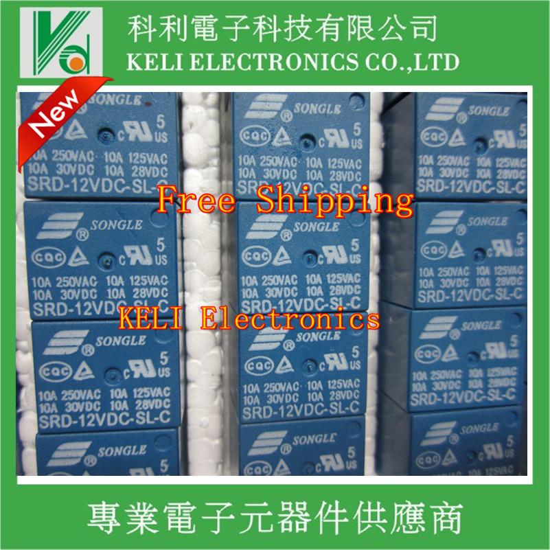 Free Shipping 100pcs lot SRD 12VDC SL C SRD 12VDC SRD 12V SONGLE POWER RELAY DIP