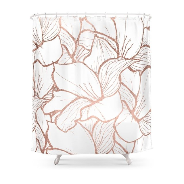 Modern Handdrawn Abstract Faux Rose Gold Flowers Pattern Shower Curtain Fabric Liner With 12 Hooks Waterproof And Mildewproof