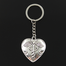 Keychain Jewelry Medicine Caduceus Heart Pendant Key-Ring Metal Silver-Color Fashion