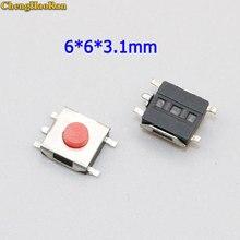 ChengHaoRan 50 pcs Flat Red SMD 5Pin 6x6 Tact Switch Button 6 * 6 * 3.1mm Micro Switch 6x6x3.1mm micro switch repair parts