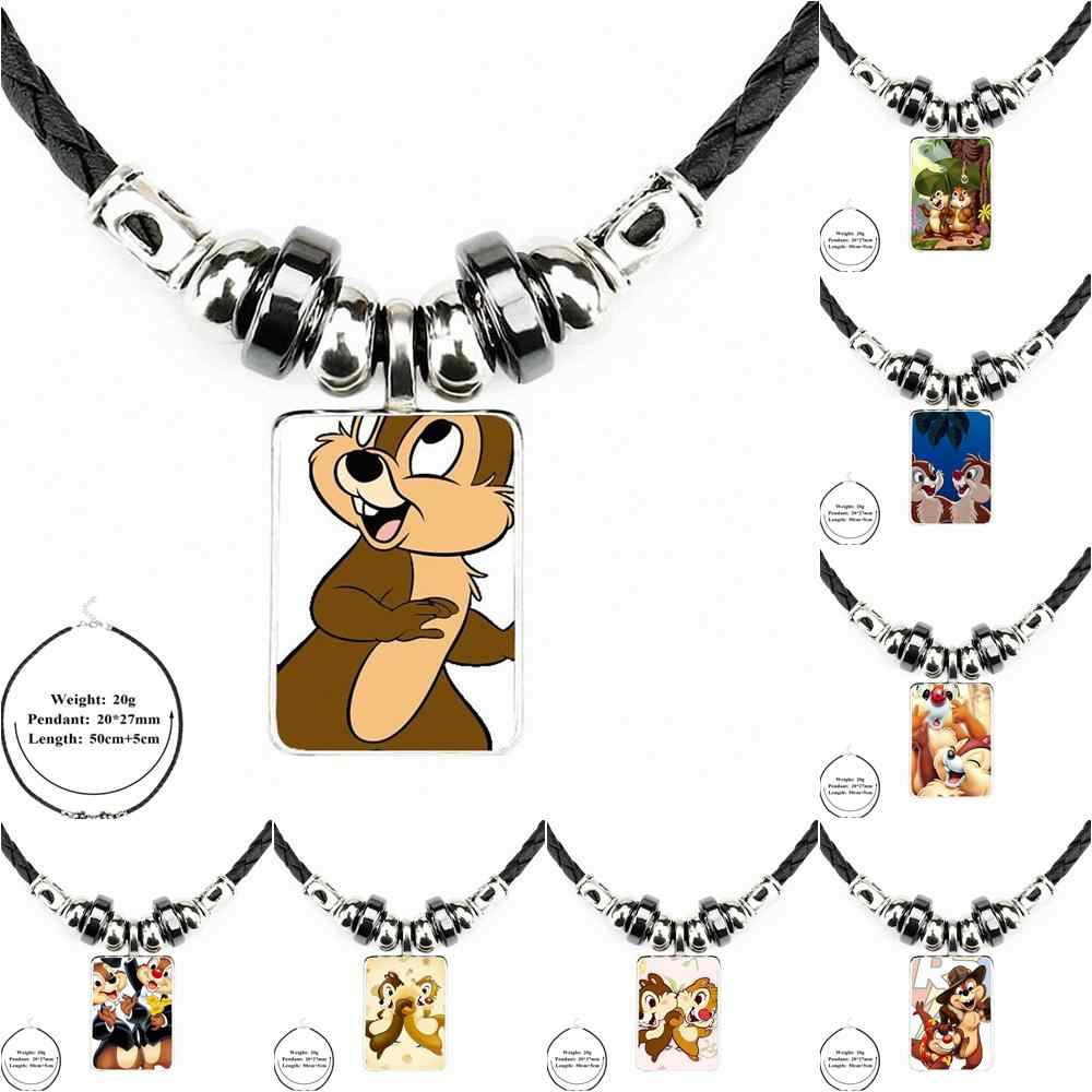 EJ Glaze Harajuku Style Jewelry Black Leather Bead Pendant Glass Cabochon Choker For Unisex Chip 'n' Dale Chipmunks