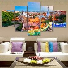 Canvas Home Decor Modulární obývací pokoj Obývací pokoj Obrazový rám 5 kusů Budovy v Barceloně Malba HD Plakát Plakát