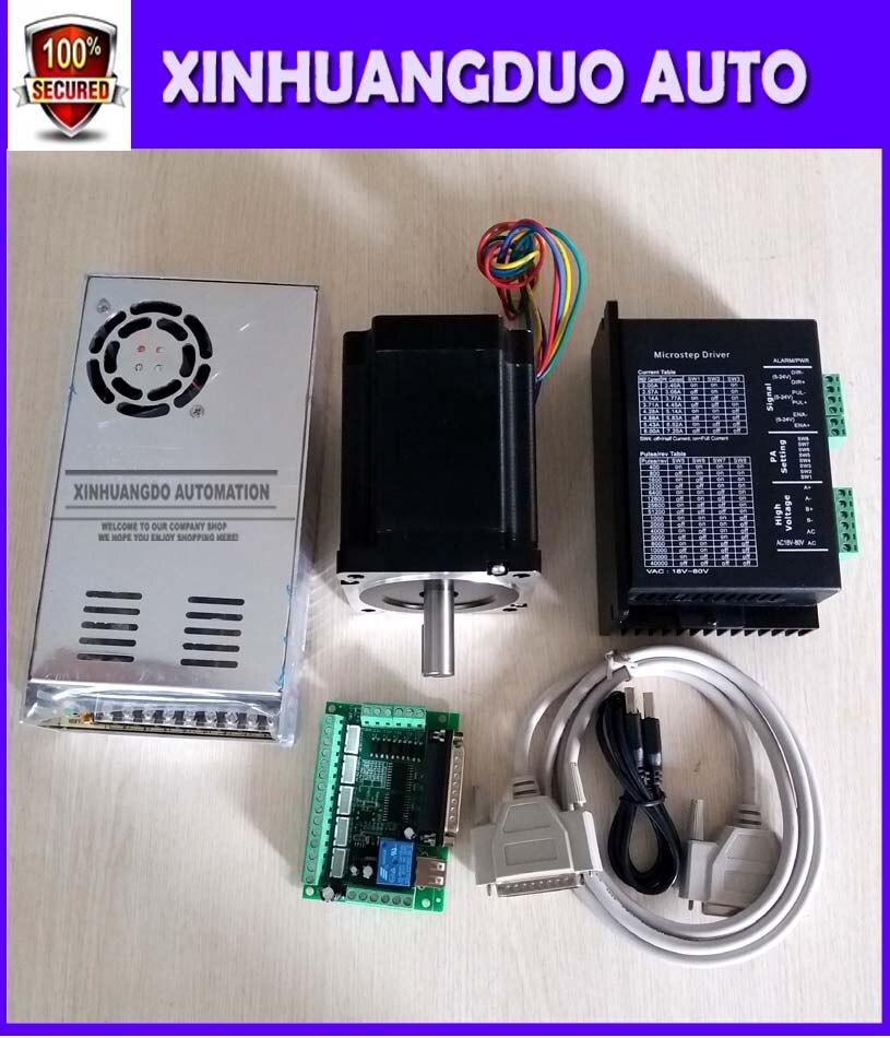 Nema 34 moteur pas à pas 5.0A/1230oz-in 1.8 deg moteur pas à pas/116mm + pilote 6A/80VDC 256 Microstep et carte d'interface