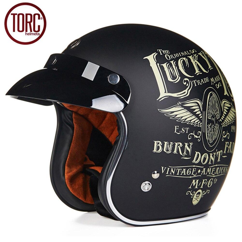 TORC Cruiser Motorcycle Helmet Harley 3/4 Open Face Vintage Helmet T5060 Moto Casque Casco motocicleta Capacete DOT Helmets