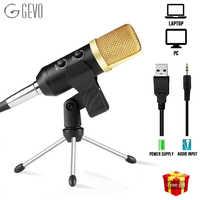 USB Microfono Studio Professionale A Condensatore Cablato Microfono Del Computer Con Il Basamento Per Karaoke Registrazione Video PC GEVO MK F100TL