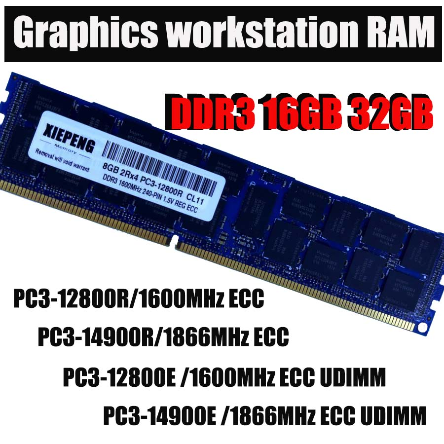 Server memory 16GB 2Rx4 PC3-14900 REG ECC DDR3 32GB 1866MHz 4GB PC3 15000 Registered ECC RAM for Mac Pro Graphics workstation image