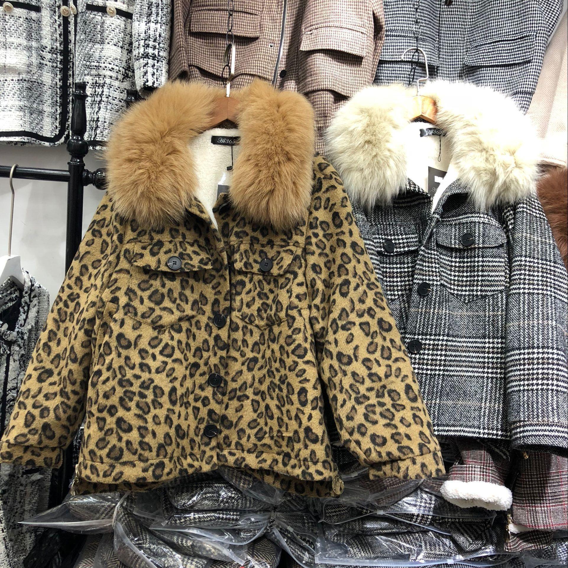 Laine Lâche Épaissie Col Outwear leopard Nouveau Plaid Veste Femme Noir 2018 Hiver Manteau De Fourrure Manteaux Chaud Réel Femmes Fox rouge Automne Court Mode wTx68P4q