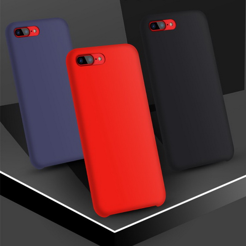 Original No Logo Silicone Case For For iPhone 7 8 Plus Back Cover For Iphone X 6 6s plus Smooth Case For Samsung S8 Plus S9 Plus