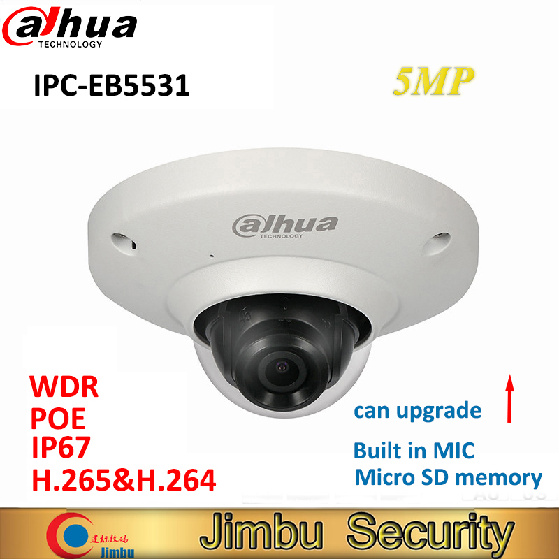 Dahua 5MP IP camera IPC-EB5531 Panoramic Network Fisheye IP Camera H.265 1.4mm lens Built-in Mic Micro SD card IP67 PoE WDR dahua english vewrsion 4mp wdr network vandalproof bullet ip camera with fixed lens ip67 ipc hfw4421e 3 6mm lens