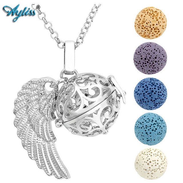 Ayliss Hot Style Aromatherapy Essential Oil Necklace Silvery&Rose Golden Angel Wing Locket Pendant Necklace W/5 Dyed Lava Stones