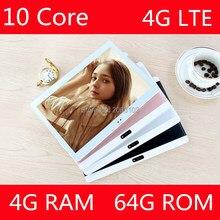 2017 Nueva 10 pulgadas 4G LTE Comprimidos Deca Núcleo Android 7.0 RAM 4 GB ROM 64 GB Dual Tarjetas SIM 1920*1200 IPS HD de 10.1 pulgadas Tablet pc + Gifs