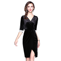2017 Autumn New Women Sexy V-Neck Pleuche Dress Casual Lace Petal Sleeve High Waist Vestido Split Pencil Robe Plus Size BH518A