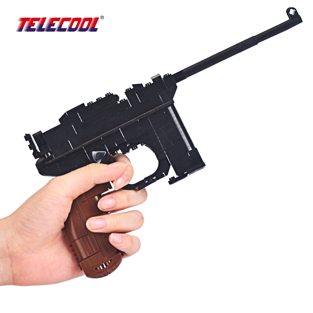 TELECOOL Pistol Gun Weapon Arms Model 1:1 DIY Model Building Blocks For Kids toy Compatible with Lepin Toy 145 Pieces enlighten fight inserted assembled building blocks 407 set brick black weapon compatible air gun block model pistol toy for boys