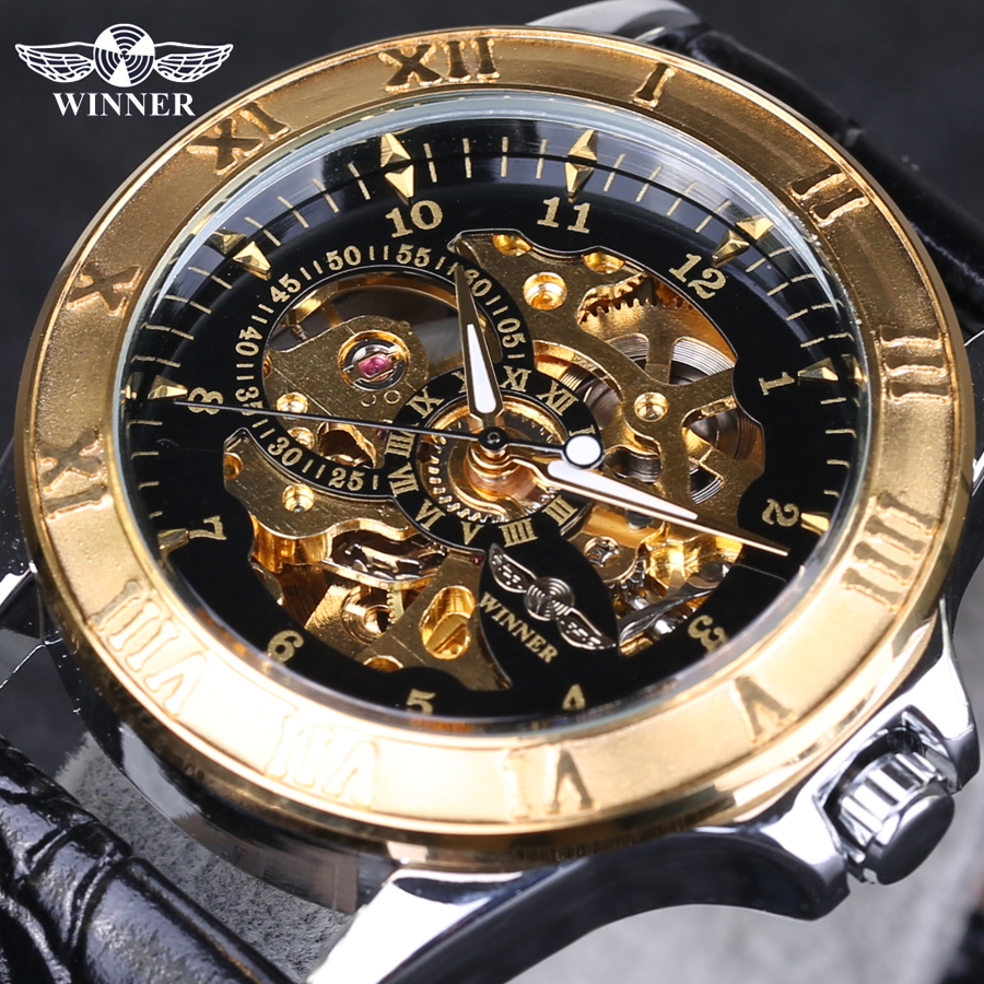 53dd220f7a4 Top Selling Winner Watches Famous Brand Men s Mechanical Wrist Watch Luxury  Skeletons Gold Watches Male Clock Relogio Original