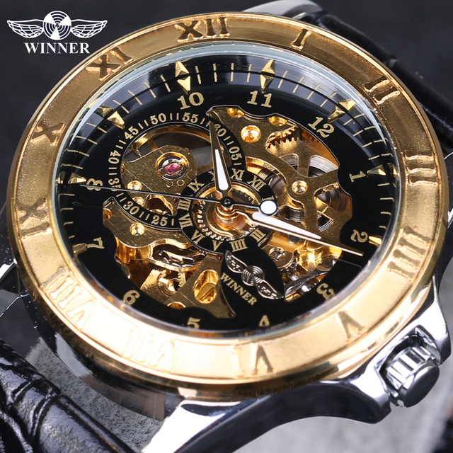 Top Selling Winner Watches Famous Brand Men's Mechanical Wrist Watch Luxury Skeletons Gold Watches Male Clock Relogio Original