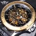 Top Venda Vencedor Esqueletos Relógios Famosa Marca Relógio de Pulso Mecânico dos homens de Luxo Relógios de Ouro Masculino Relógio Relogio Originais