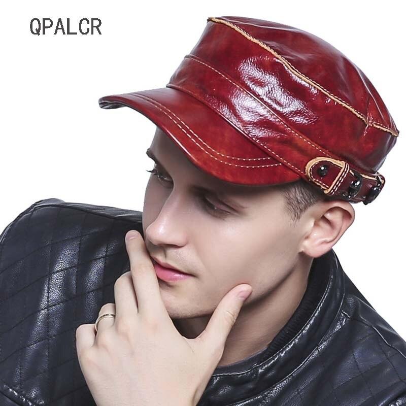 QPALCR haute qualité militaire casquette chapeau en peau de mouton véritable cuir hiver chapeaux pour femmes hommes armée casquettes décontracté chapeau haut de forme os mâle