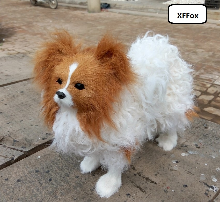 new real life Papillon dog model plastic&furs standing doll gift about 28x27cm xf1599