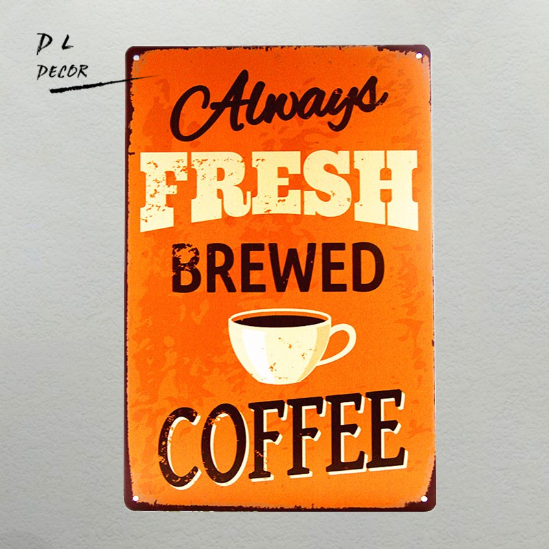 Good Times Happen Over Coffee Cafe Gift Retro metal Sign//Plaque Wall vintage