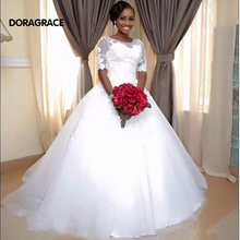 Romantic A Line Wedding Dresses Black Women Lace Up Applique Tulle Gowns With Half Sleeve DG0020
