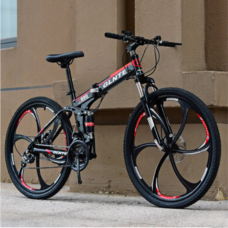 Folding Mountain Bike Bicycle 6 Wheel Wheel High Carbon Steel 26-inch 21 24 27 Speed Both Men And Women Adult