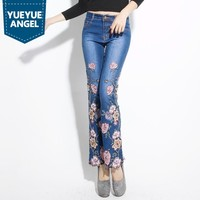 Новинка 2019 года Женские офисные пикантные Push Up джинсы для женщин Эластичный женские брюки скинни Винтаж Цветочный Вышивка Бисер джинсовые