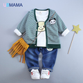 Crianças temporada idade panda T-shirt do terno privado terno de algodão da listra T-shirt de manga comprida terno de três peças