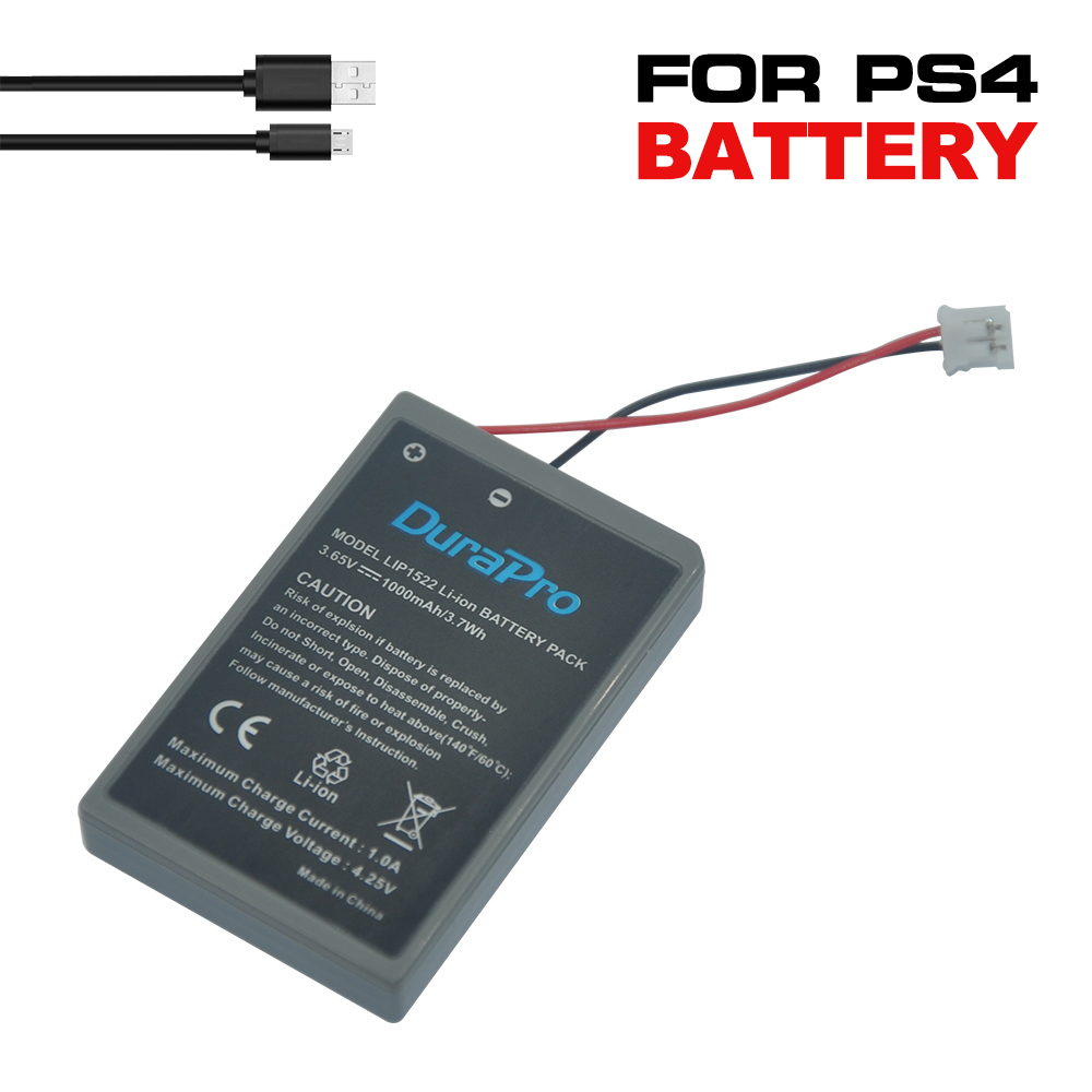 DuraPro 2Pcs LIP1522 <font><b>PS4</b></font> New Lithium ion <font><b>Battery</b></font> Pack for Sony Playstation <font><b>PS4</b></font> Controller GamePad with USB Charging Cable