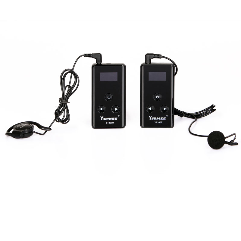 YARMEE New Tour Guide System Including 2 Transmitter With Mic , 30 Receivers With Earphone With Carry Case YT200 2 receivers 60 buzzers wireless restaurant buzzer caller table call calling button waiter pager system